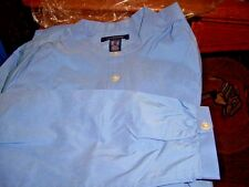 NEW! Lands End WOMENS BAND COLLAR BLUE BLOUSE SHIRT L/S CHINA  BLUE SIZE 12