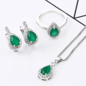 925 Silver Emerald Pendant Jewelry Fashion Women Necklace Drop Earrings Set Gift
