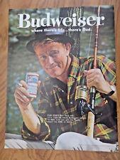 1961 Budweiser Beer Ad  Fish Story?  Fishing Guy