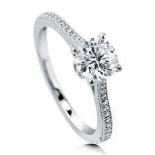1 CT Solitaire diamond 14K white GOLD Engagement Ring Wedding BRIDAL VVS D 1.5CT