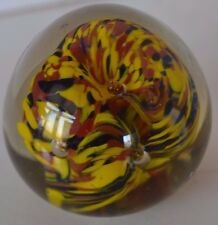 Vintage Yellow Black Brown Controlled Bubble Paperweight Glass Art