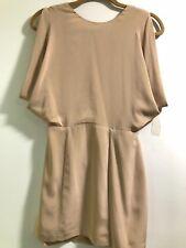 Wren Beige Dusty Pink Cut Out Open Back Silk Kimono Short Mini Dress XS