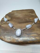 Lavish Blue Lace Agate 925 Sterling Silver Jewelry Necklace