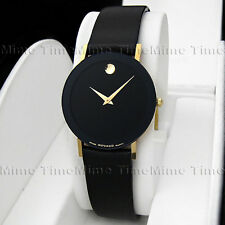Men's Movado SAPPHIRE 14K Solid Gold Black Dial Leather 3.5mm Thin Swiss Watch