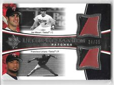 2006 UD Ultimate Collection Joe Mauer Francisco Liriano Dual Patch Card #ed /35