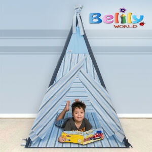 Portable Pop Up Kids Play Tent Small Blue Indoor Outdoor Play House + Mat & Case
