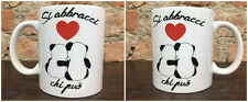 Tazza Mug ceramica bianca 2 panda si abbracci chi può TZG023