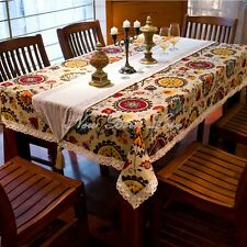 Mediterranean Style Sunflower Tablecloth Lace Cotton Linen Table Cover 140x180cm
