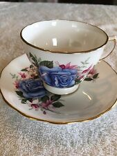 African Violet Tea Cup And Saucer Planter With Blue Rose And Drainage Hole