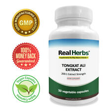 Real Herbs Tongkat Ali Extract 400mg - 200 to 1 Extract Strength - 50 Vegetarian