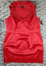 Just Taylor Womens 24 W Dress Red Sheath Ruffle Collar Pencil Dress Empire Waist