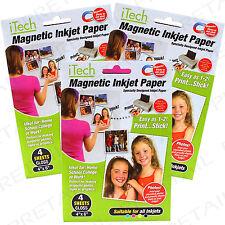 12 x SHEETS GLOSSY MAGNETIC PHOTO PRINTER PAPER All Inkjets Fridge Card Invite
