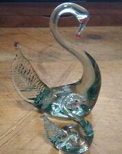 Art Glass Swan & Cygnet - Elegant and Unusual Style