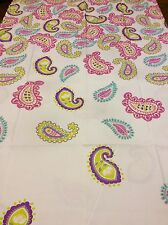 Paisley Fabric Shower Curtain Multi-Colors On White Very Pretty & Colorful New