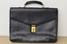 Chanel Vintage Black Caviar Business Attache Briefcase Laptop Bag Used Authentic