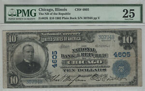 1902 PB $10 NATIONAL BANKNOTE CURRENCY CHICAGO ILLINOIS PMG VERY FINE VF 25