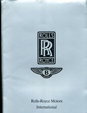 1986 Rolls Royce Bentley Original Press Media Brochure - Corniche Continental