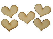 MDF Heart Wooden Shapes 3.5cm 35mm High 3mm Thick Custom Cut x 20 pieces 075