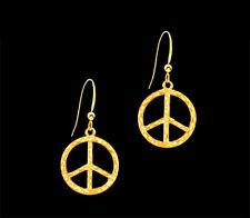 *CKstella*  Beautiful Gold Peace Symbol Pewter Sign Dangle 14K Gold gf Earrings