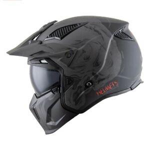 Gray Night Modular Flip Up Matt Finish Full Face Safety Helmet Dot Standard