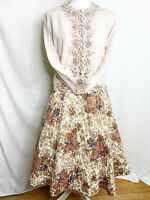 Vintage 1960s Quilted  Floral Circle Skirt - Gorgeous Pattern!