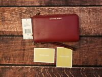 Michael Kors MK Adele Cherry Double Zip Around Phone Wallet Red Leather NWT $168