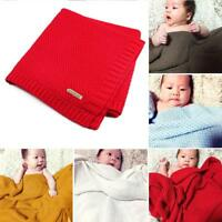 7 Colors 100% Organic Cotton Knitted Baby Blanket for Boys Girls Kids tools