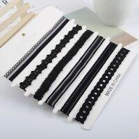 6 Pcs/Set Black Velvet Choker Collar Necklace Gothic Punk Women Lace Chain
