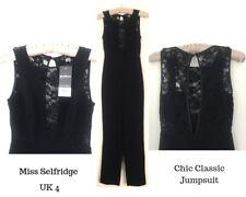 Miss Selfridge Petites Black Jumpsuit Lace Keyhole Back Special Party Goth UK 4