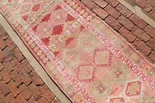 RED Vintage HERKI Runner 2'7x11'8 Kurdish Hallway Geometric Home Decor Carpet