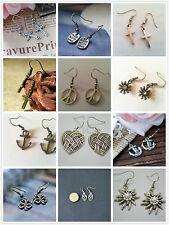 Vintage Bronze Antique Silver Charm Drop/Dangle Hook Earrings Gift Many Designs