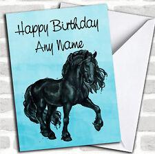Blue Acquerello Frisone Cavallo cartolina Di Compleanno Personalizzati