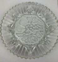 "Plate Dish Vintage 11"" Lead Crystal Cut Glass Round Pie Cake Snack Serving Tray"