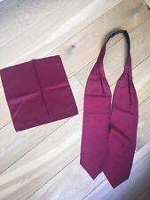 Dark red cravat with matching pocket square