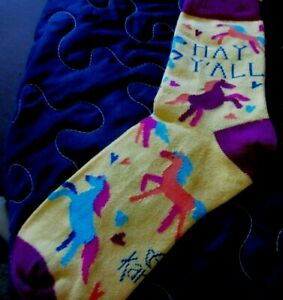 Women's Karma Colorful Horses Western Hay Y'all Socks
