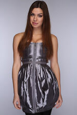 womens girls grey (silver) taffata clubbing party dress size 10 uk