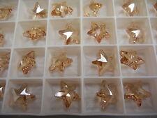 8 swarovski crystal vintage star pendants(top drilled)16mm golden shadow #6715