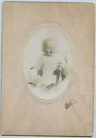 2 Antique Photo's-1916 Cute Baby Sitting in Small Chair-Doris Alberta Yocom