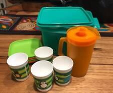 TUPPERWARE GREEN KIDS MINI PICNIC ECO SET CUPS PLATES JUG