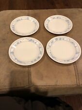 "Set 4 Corelle FIRST OF SPRING Dessert Plates 6 3/4"" Blue White Flower"