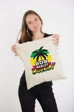 Bob Marley Burnin' Rasta Reggae Natural Shoulder Shopping Tote Bag