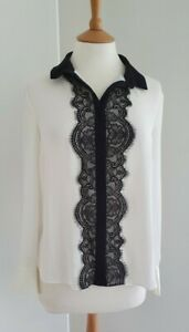 LIPSY - WHITE LONG SLEEVE BLOUSE / BLACK LACE TRIM - SIZE 12 - NEW WITHOUT TAGS