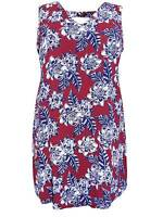 NEW New Look plus size 18 20 22 24 26 28 burgundy floral print tunic dress