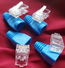 (4)Rj45 Plug Cat5 Modular Network Connector 8P8C Ethernet Cable with Blue Boot