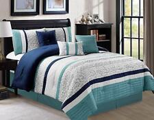 7 Pcs Oversize Luxury Stripe Bed in Bag Microfiber Comforter Set,Blue,Queen Size