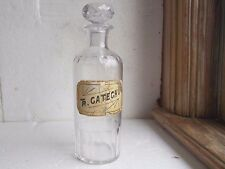 RARE CUT GLASS TR CATECHU LABEL UNDER GLASS APOTHECARY DRUGSTORE BOTTLE PONTIL