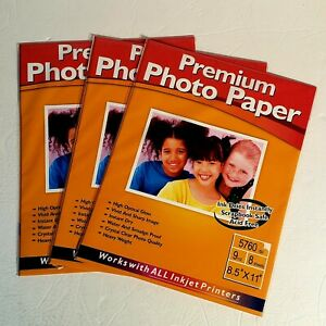 """Premium Photo Paper High Optical Gloss 8 Sheets 8.5""""x11""""  BRAND NEW - Lot of 3"""