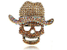 Giant Colorful Light Topaz Crystal Rhinestone Skull Cowboy Hat Statement Ring