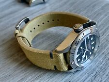 22mm TAN Suede Vintage Leather Watch Strap Band GRAY Stitch US Quick Ship