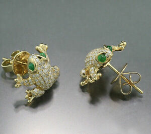 2 Ct Round Cut Diamond & Emerald Frog Stud Earrings Solid 14K Yellow Gold Over